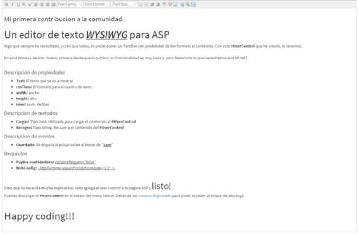 Editor de texto para ASP